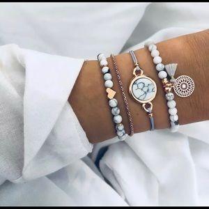 Marble beaded stacked tassel heart bracelet set